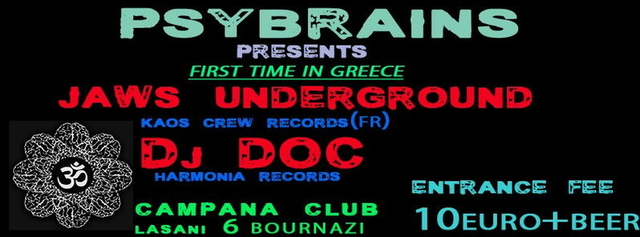 Party Flyer JAWS UNDERGROUND 1st TIME IN GREECE 19 Apr '13, 23:30