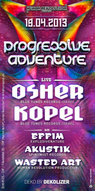 Party Flyer Progressive Adventure - Osher und Kopel LIVE 19 Apr '13, 23:00