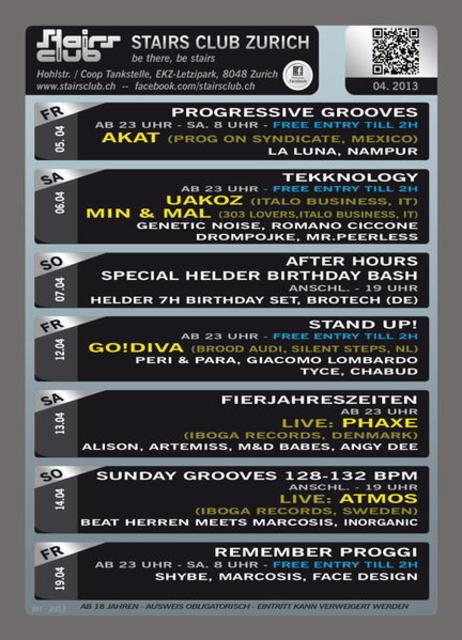 Party Flyer Remember Proggie @ Stairs Club Zürich 19 Apr '13, 23:00