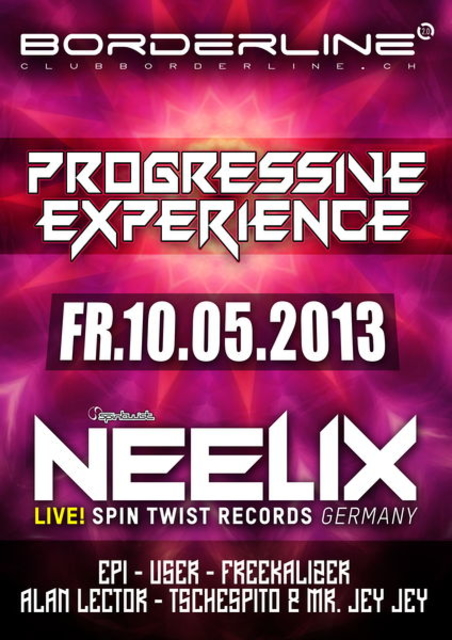 Party Flyer Progressive Experience with Neelix Live 10 May '13, 23:00