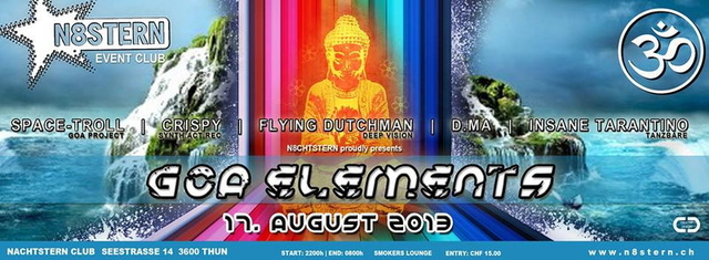 Party Flyer GOA ELEMENTS 17 Aug '13, 22:00