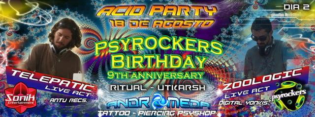 Party Flyer ACID PARTY - PSYROCKERS BIRTHDAY DIA 2 - FREE X LISTA 18 Aug '13, 01:00