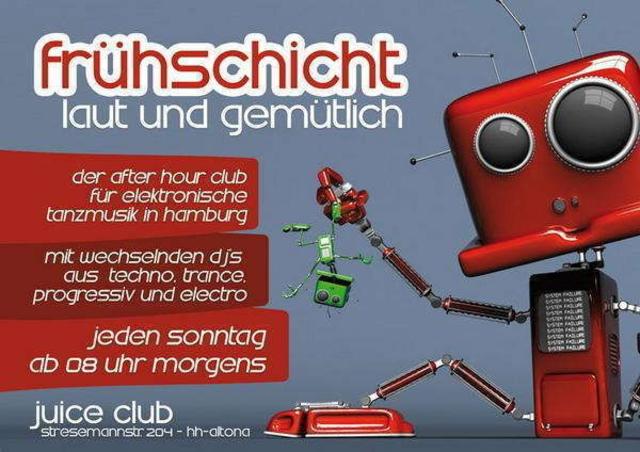 """Party Flyer Frühschicht """"laut & gemütlich"""" 18 Aug '13, 08:00"""