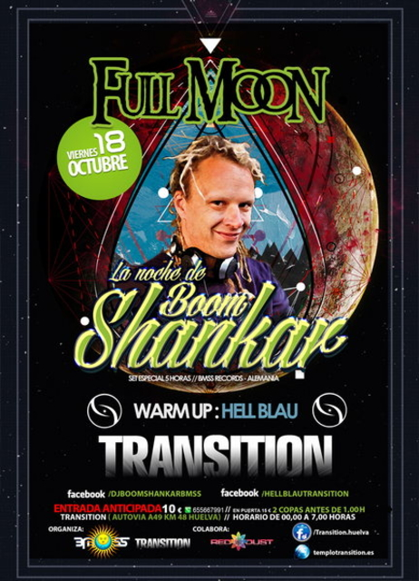 Party Flyer FULL MOON ::: LA NOCHE DE BOOM SHANKAR 5H SET 18 Oct '13, 23:30