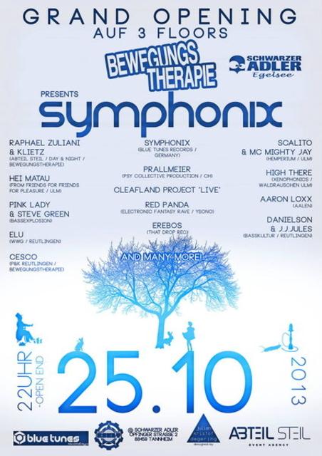 Party Flyer psytrance Party feat. SYMPHONIX - mit 3 Floors – psytrance + TECHNO + DNB 25 Oct '13, 22:00