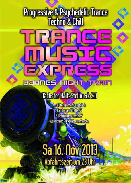 Party Flyer DJANES NIGHT TRAIN - Trance Music Express 16 Nov '13, 23:00