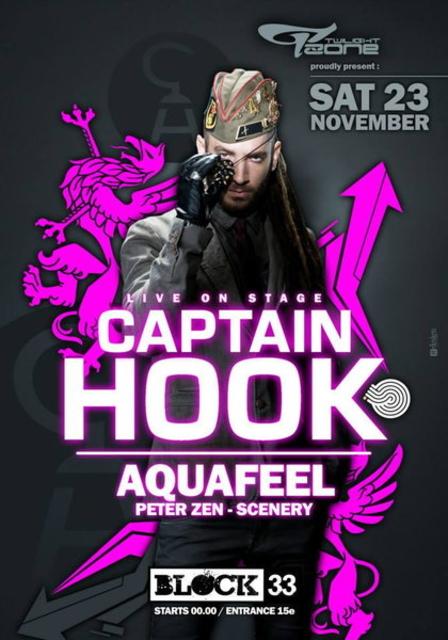 Party Flyer CAPTAIN HOOK - LIVE ON STAGE ! 23 Nov '13, 23:30