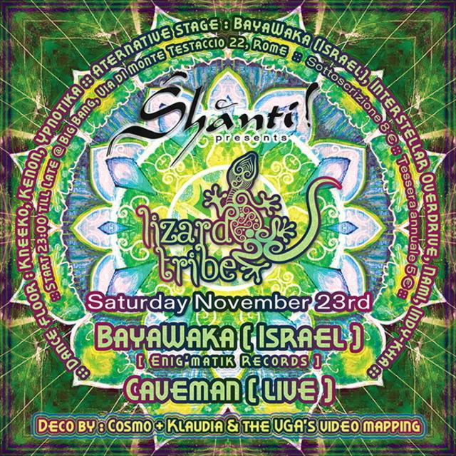 Party Flyer SHANTI! presents Lizard Tribe :: BayaWaka (Israel) + Caveman (Live) 23 Nov '13, 23:00