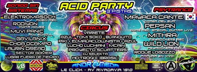Party Flyer ACID PARTY – EDICION ESPECIAL - ARTERACTUANDO EN RED - 3 Pistas FREE X LISTA! 24 Nov '13, 01:00