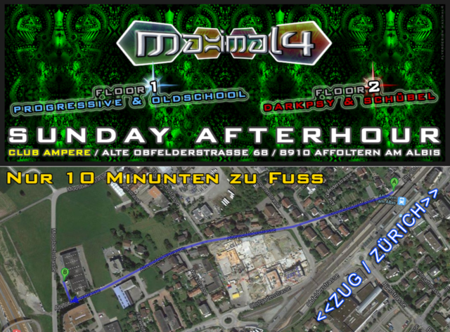 Party Flyer ॐ SUNDAY AFTERHOUR ((MAXIMAL4)) - CLUB AMPERE 24 Nov '13, 12:00