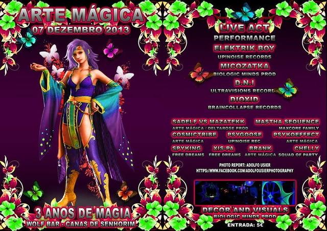 Party Flyer ***3 ANOS DE ARTE MÁGICA*** 7 Dec '13, 23:30