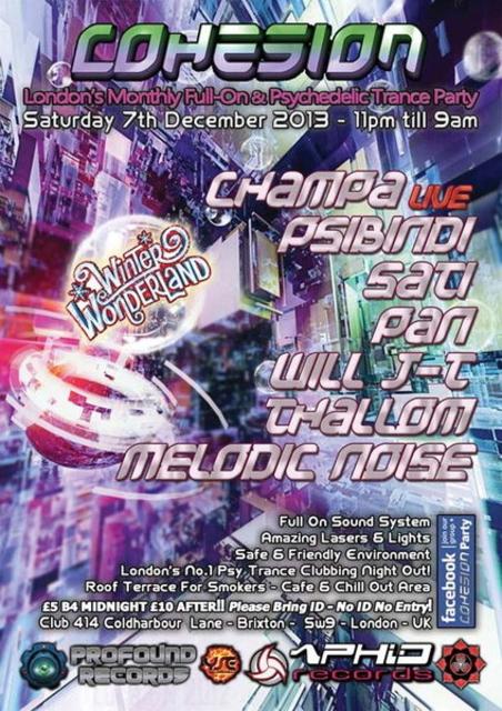 Party Flyer Cohesion Presents: Winter Wonderland 7 Dec '13, 23:00