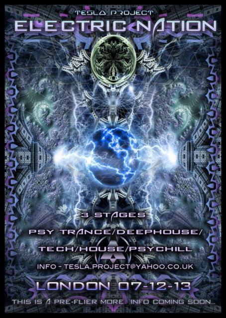 Party Flyer TESLA PROJECT presents ***ELECTRIC NATION*** 7 Dec '13, 23:00