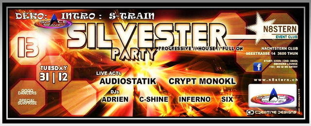 Party Flyer Silvesterparty N8stern Thun ( Space.travel ) 31 Dec '13, 22:00