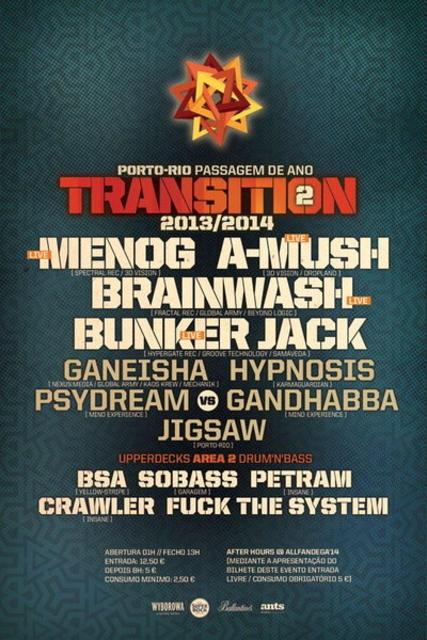Party Flyer TRANSITION NYE PARTY @ PORTO RIO 31 Dec '13, 22:00
