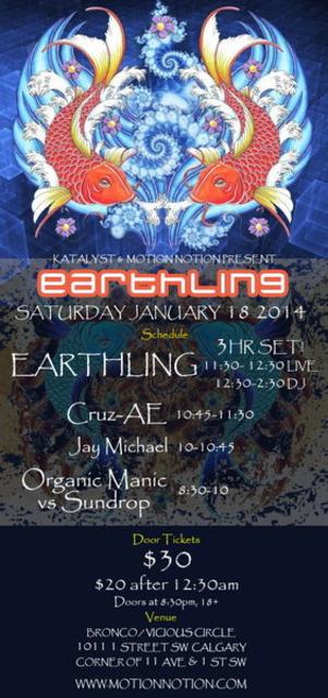Party Flyer EARTHLING in Calgary 18 Jan '14, 20:30