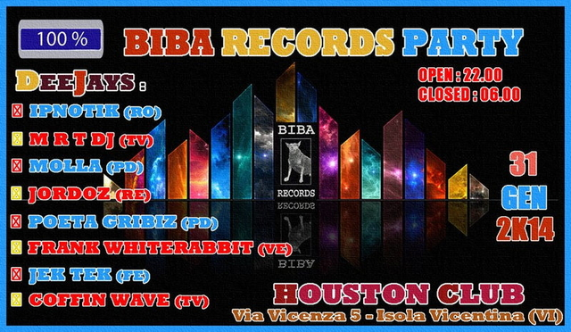 Party Flyer 100% ॐ BIBA RECORDS PARTY ॐ FREE PARTY 31 Jan '14, 22:00