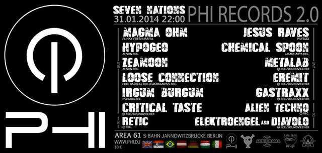 Party Flyer PHI 2.0 - 11 Live Acts - 7 Nations - 31 Jan '14, 22:00