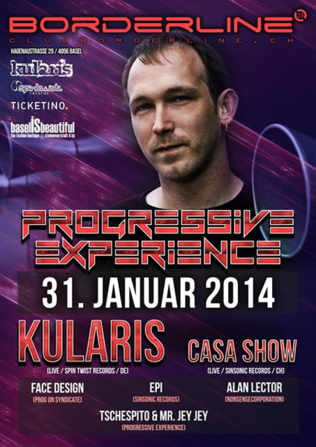 Party Flyer Progressive Experience with KULARIS LIVE / CASA SHOW LIVE 31 Jan '14, 23:00