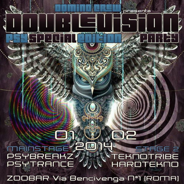 Party Flyer ☆DOUBLE VISION PARTY☆ PSY SPECIAL EDITION ☆ASSIOMA *LIVE*☆ROMA☆ 1 Feb '14, 23:00