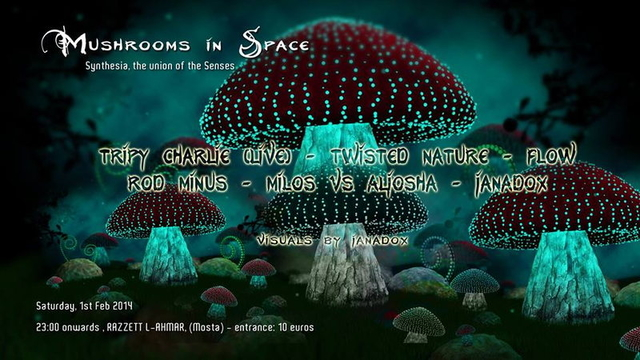 Party Flyer Mushrooms in Space - Psytrance event - Synesthesia The Union of the Senses 1 Feb '14, 23:00