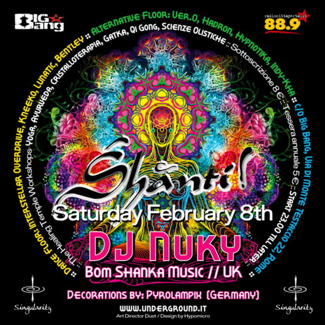 Party Flyer SHANTI! :: DJ NUKI [BOOM SHANKA MUSIC] (UK) + Deco by Kλαυδια 8 Feb '14, 23:00