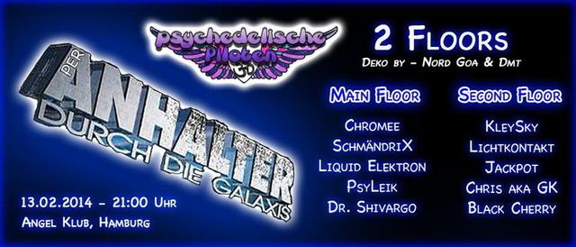 Party Flyer PsychedelicPiloten Pres. Per Anhalter durch die Galaxis 13 Feb '14, 22:00