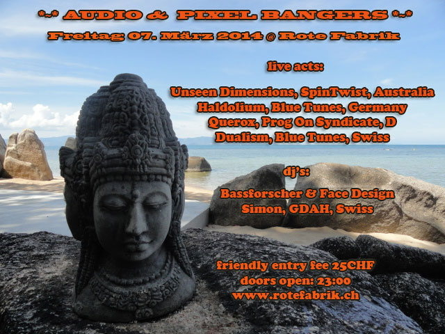 Party Flyer Audio & Pixel Bangers @ Rote Fabrik live Unseen Dimensions 7 Mar '14, 23:00