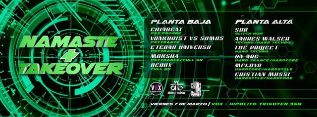 Party Flyer Namaste + Take Over (2 Underground Parties @ 1 Club) 7 Mar '14, 23:30