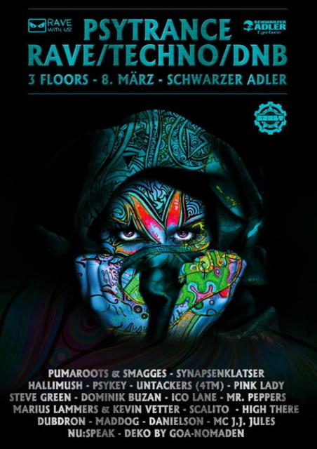 Party Flyer GOA Rave Techno DNB Party on 3 Floors @schwarzer adler 8 Mar '14, 22:00
