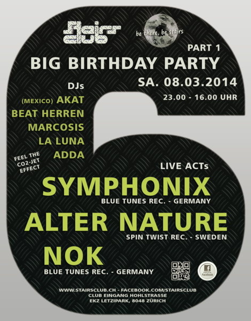 Party Flyer 6 Jahre - Stairs Club Zurich - Big Birthday Party 8 Mar '14, 23:00