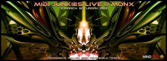 Party Flyer MIDI JUNKIES Live @MONX - ISTANBUL 8 Mar '14, 22:00
