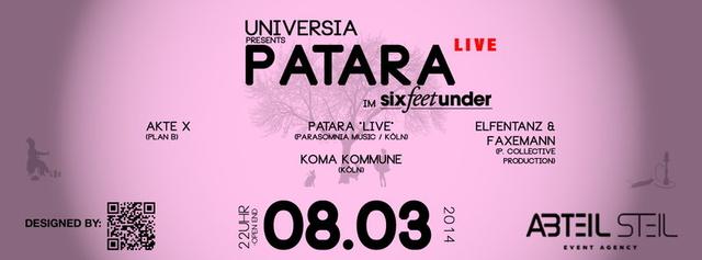 Party Flyer UNIVERSIA mit PATARA *LIVE* & KOMA KOMMUNE 8 Mar '14, 22:00