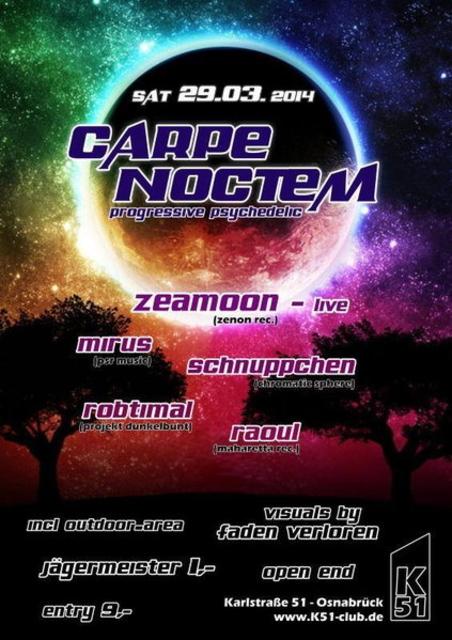 Party Flyer Carpe Noctem! Zeamoon Live 29 Mar '14, 23:00