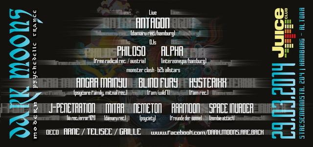 Party Flyer DARK MOONS -SPECIAL-: ANTAGON RELEASE PARTY 29 Mar '14, 23:00