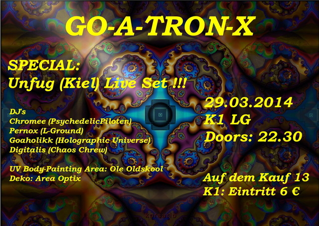 Party Flyer GO-A-TRON-X 29 Mar '14, 22:30