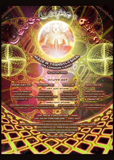 Party Flyer ♪ Love Light Fire Made in Transylvania on London Land ॐ 12 Apr '14, 23:00