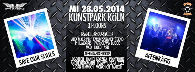 Party Flyer SAVE OUR SOULS & AFFENKÄFIG 28 May '14, 22:00