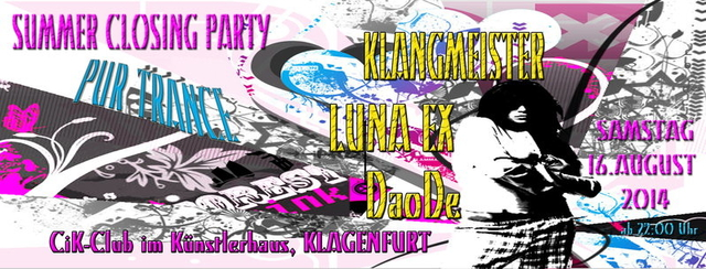 Party Flyer CiK Sommer Closing Party 16 Aug '14, 22:00