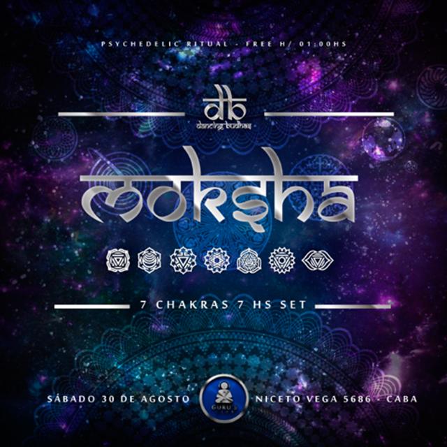 Party Flyer Dancing Budhas: Moksha 7 Chakras 7hs Set 30 Aug '14, 23:30