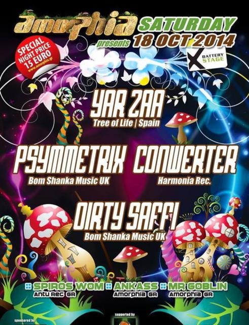 Party Flyer AMORPHIA PRESENTS YAR ZAA -CONWERTER -PSYMMETRIX -DIRTY SAFFI <3 18 Oct '14, 23:00