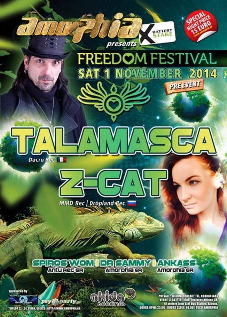 "Party Flyer AMORPHIA - FREEDOM FESTIVAL PRE EVENT ""Talamasca & Z-Cat"" 1 Nov '14, 23:00"
