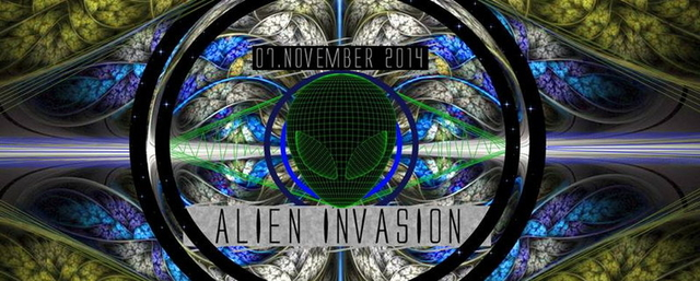 Party Flyer Alien Invasion // 2 Big Floors // with Antispin / Paralocks / Insector 7 Nov '14, 23:30