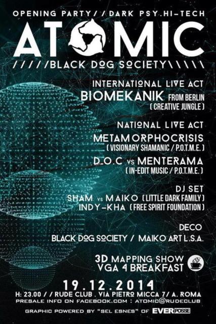 Party Flyer ATOMIC dark psy / hi-tech party 19 Dec '14, 22:00