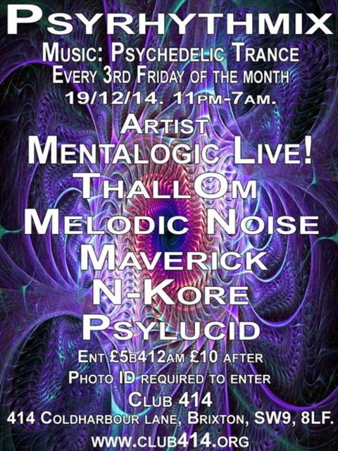 Party Flyer Psyrhythmix Psychedelic Trance Party 19 Dec '14, 23:00