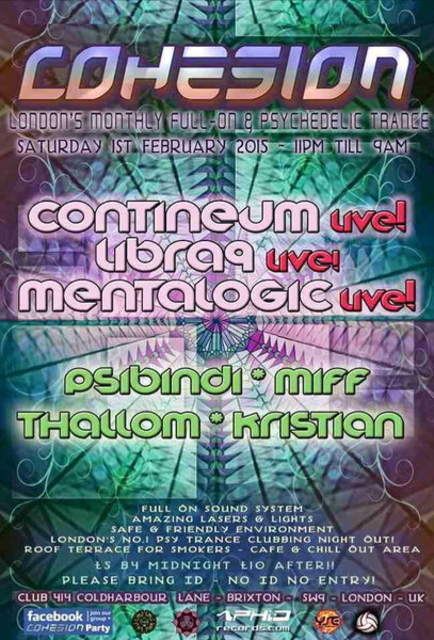 Party Flyer Cohesion Psychedelic Trance Party - London 7 Feb '15, 23:00