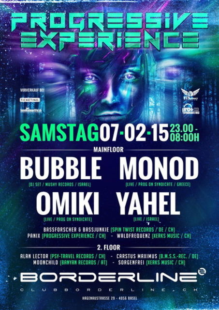 Party Flyer Progressive Experience with BUBBLE / MONOD / OMIKI / YAHEL 7 Feb '15, 23:00