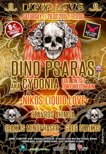 Party Flyer Liquid Love presents DINO PSARAS Cydonia/Tortured Brain 28 Feb '15, 23:00