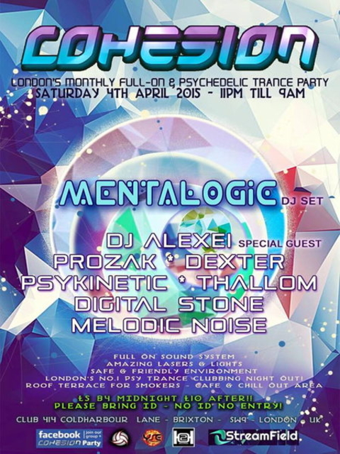Party Flyer Cohesion Psychedelic Trance Adventure 4 Apr '15, 23:00