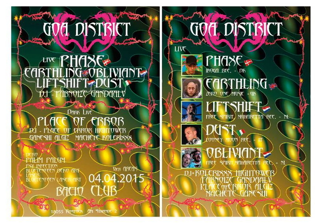 Party Flyer GOA DISTRICT pres. Phaxe, Earthling, Liftshift, Dust live 4 Apr '15, 22:00